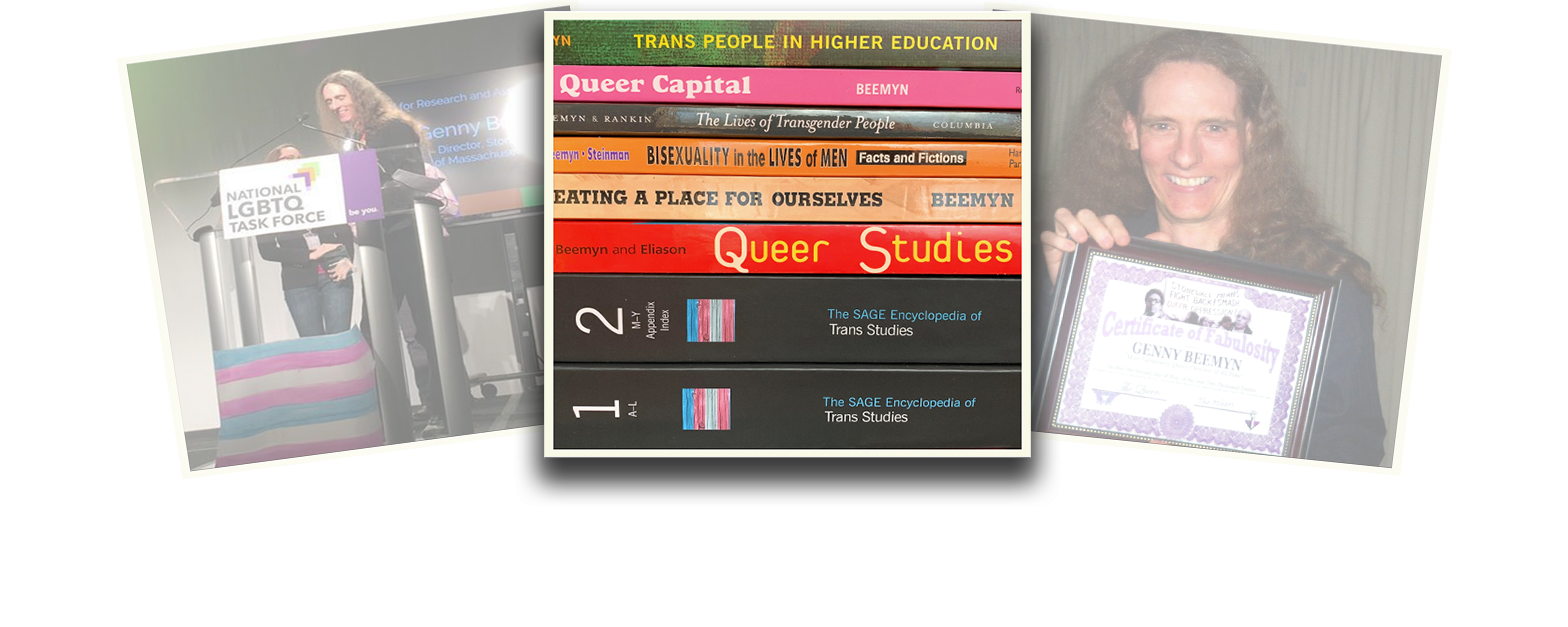 Genny Beemy is featured in a photo composition of three polaroid-styled images overlapping one another. The images on the left and right are at a slight angle and faded. The central image shows a stack of books authored or co-authored by Genny Beemyn. At the bottom of the stack are two volumes of The SAGE Encyclopedia of Trans Studies.