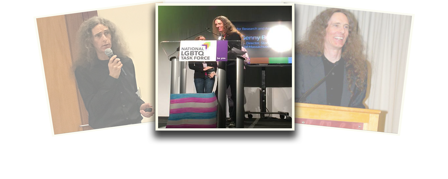"""Genny Beemyn is featured in a photo composition of three polaroid-styled images overlapping one another. The images on the left and right are at a slight angle and faded. The central image is of Genny Beemyn in a black shirt, with long hair loose over their shoulders, standing with two people at a podium with a sign that reads """"National LGBTQ Task Force."""" Behind Genny it a screen with their name and title. In front of the podium is a blue, pink and white banner."""