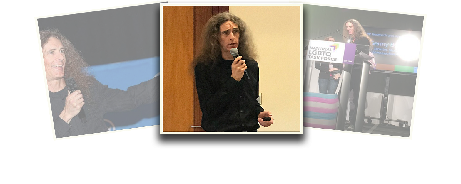 Image is a photo composition of three polaroid-styled images overlapping one another. The images on the left and right are at a slight angle and faded. The central image is of Genny in a black shirt, with long hair loose over their shoulders, holding a microphone in one hand and a small remote in the other. Behind them on one side is a wood panel and on the other is a pale yellow wall.