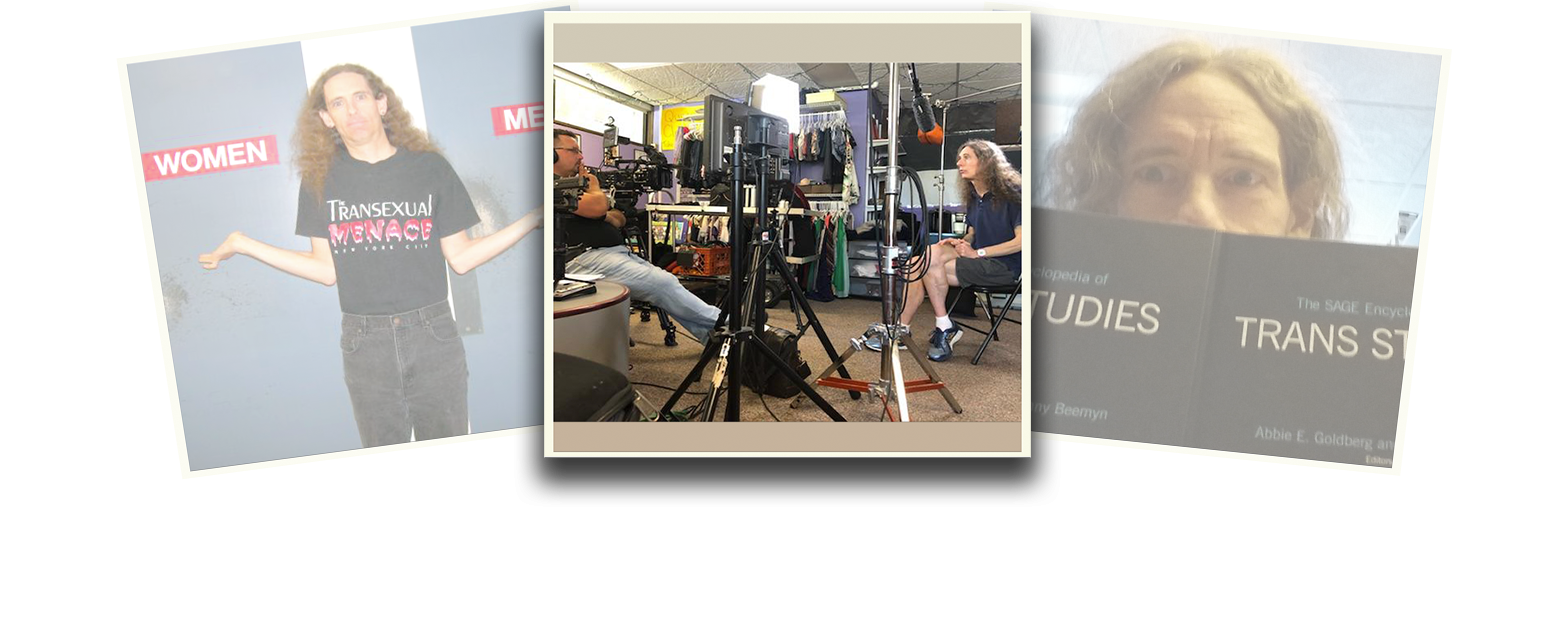 Genny Beemyn is featured in a photo composition of three polaroid-styled images overlapping one another. The images on the left and right are at a slight angle and faded. The central image is of Genny Beemyn seated in a dark polo-style shirt, shorts and sneakers, with long hair loose over their shoulders, speaking to a man across from them who is wearing bulky headphones. The setting is a radio studio and microphones, cables and other equipment are visible. .