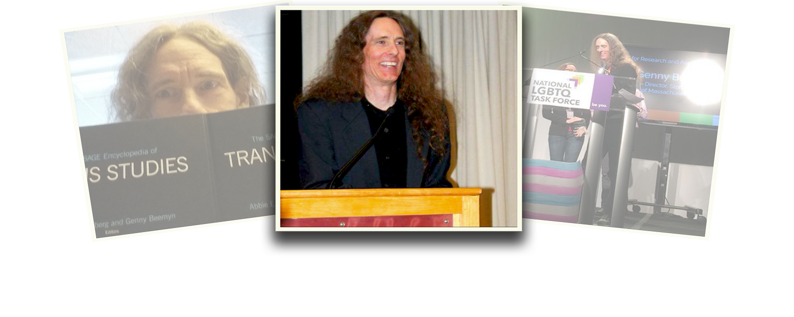 Genny Beemyn is featured in a photo composition of three polaroid-styled images overlapping one another. The images on the left and right are at a slight angle and faded. The central image is of Genny Beemyn in a black shirt and jacket, with long hair loose over their shoulders, smiling widely and standing at a wood podium with a beige curtain behind them.