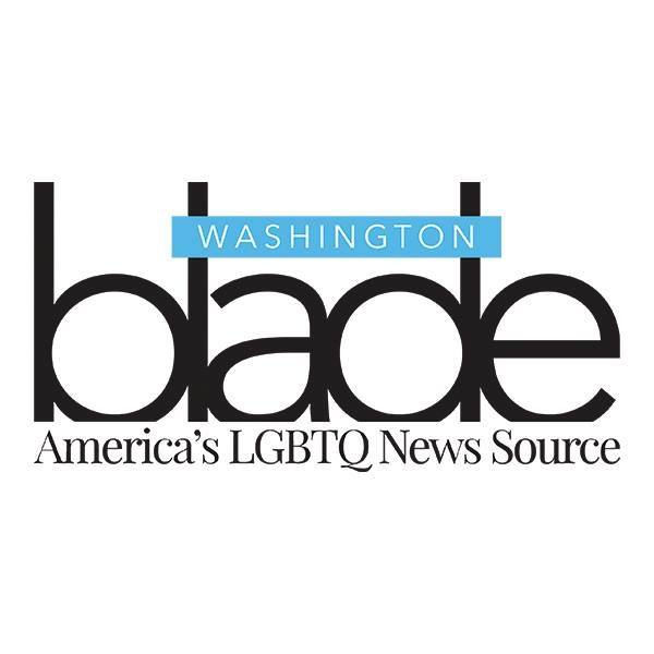 Washington Blade logo featuring a white square with text reading Washington Blade America's LGBTQ News Source