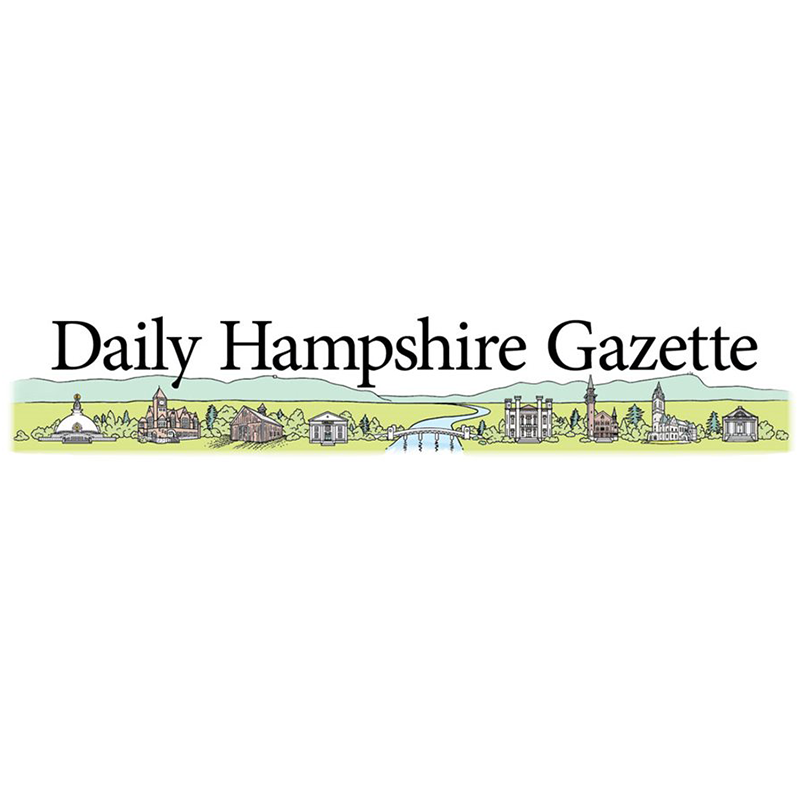 Daily Hampshire Gazette logo featuring black text and a horizontal landscape illustration of significant buildings in the Pioneer Valley