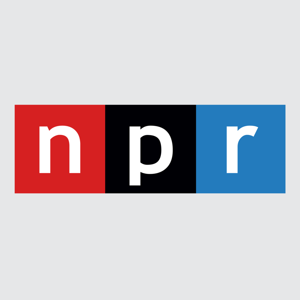 National Public Radio logo - a horizontal rectangle featuring white text reading NPR on a red, black, and blue background
