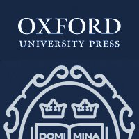 Oxford University Press logo featuring white text and part of the Oxford crest in white against a dark blue background