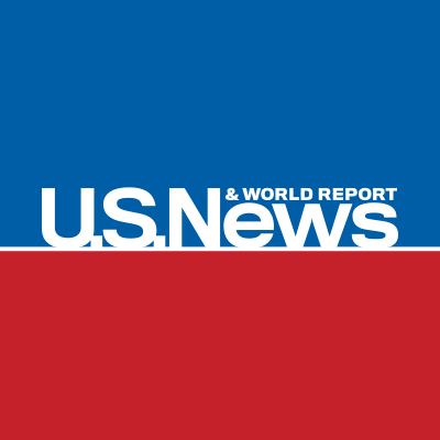 U.S. News and World Report logo featuring white text on a blue and red background.